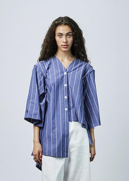 Hache Bias Cut Pajama Tunic - blue/white stripe