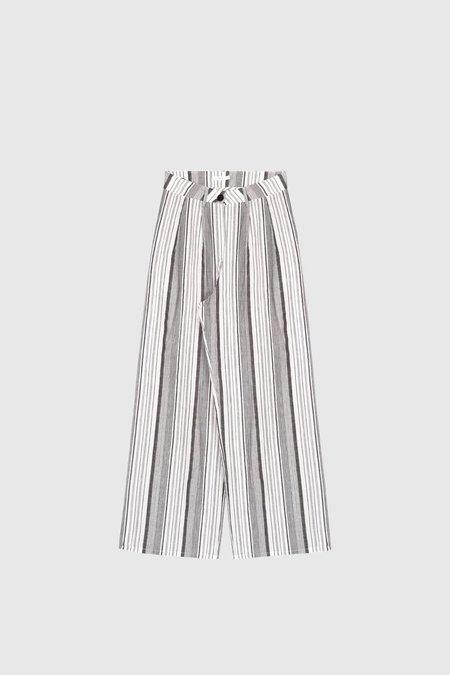 Commoners Wide Leg Pant - Grey Stripe