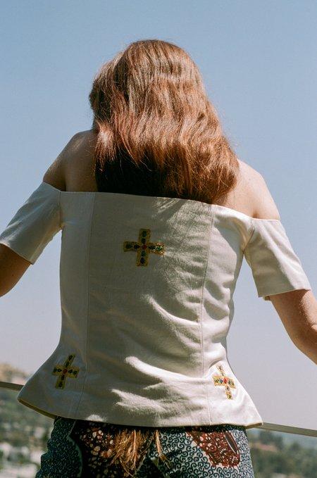 100% SILK Hand Embroidered Juliet Corset - White