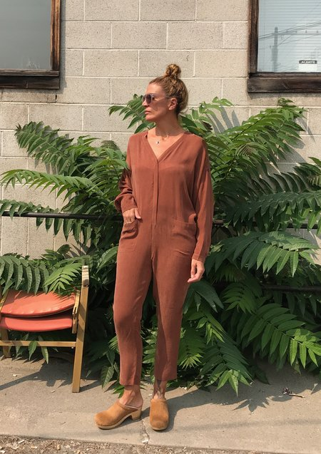 7115 by Szeki Workman Jumpsuit - Rust