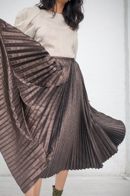 Rito Asymmetrical Metallic Pleated Skirt - Bronze