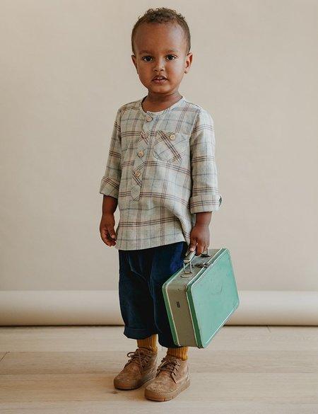 Unisex Kids Petits Vilains Theo Classic Henley - Rust Plaid