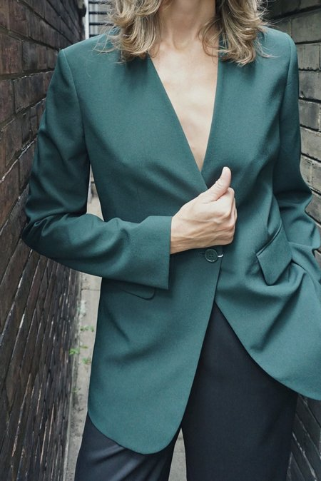 MM6 COLLARLESS JACKET - DARK GREEN
