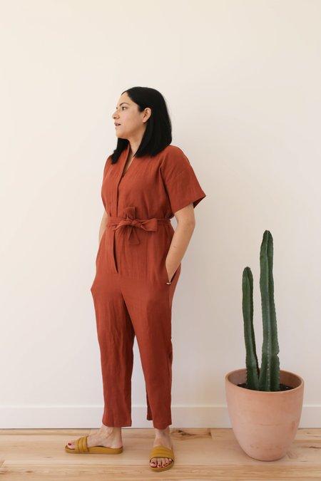 OffOn Clothing Linen Kimono Jumpsuit - Redwood