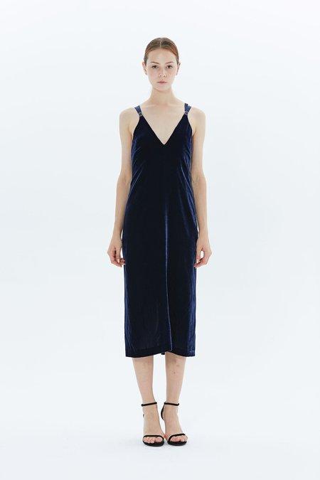 Dion Lee Grosgrain Velvet Dress - NAVY