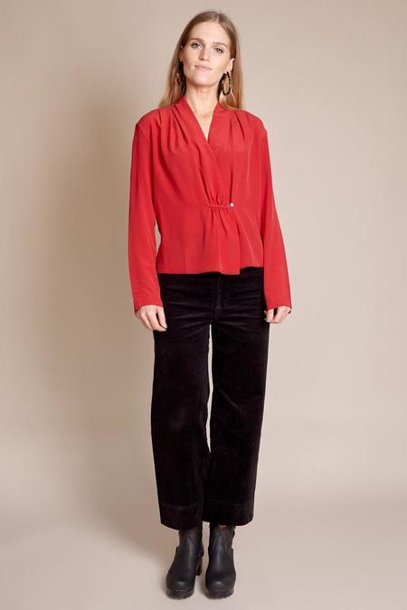Pomandere Single Button Blouse - Red