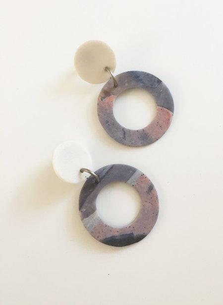 Hello Zephyr Dangling Hoop Earrings - Marbled