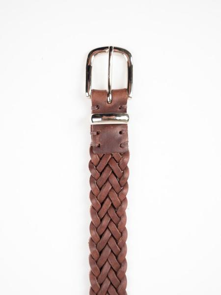Oliver Spencer Braid Leather Belt - Chocolate