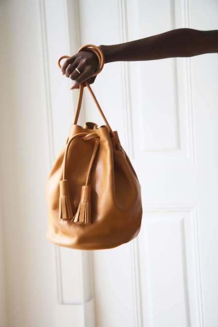 Le Junev Large Chunky Tassel Leather Bucket Bag