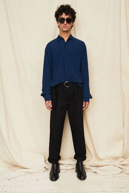 Assembly New York Checkered Long Sleeve Camp Shirt - blue