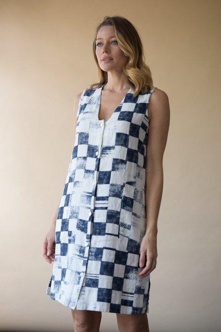 Raquel Allegra Linen Dress - Checker Printed