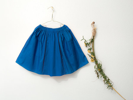 KIDS Petit Mioche cotton skirt with pockets - BLUE