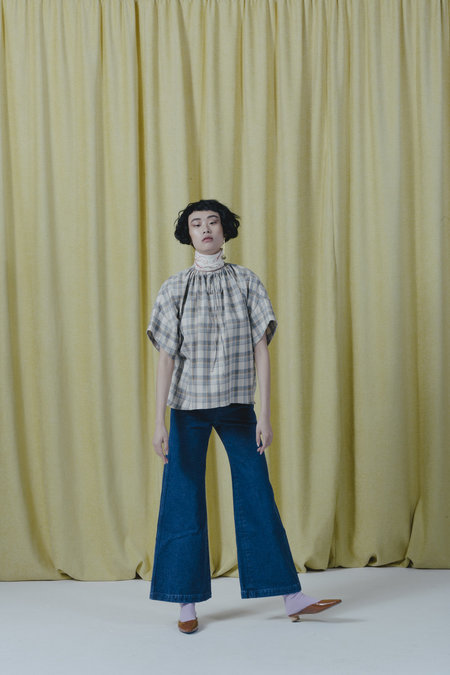 Carleen Drawstring Blouse - White Plaid