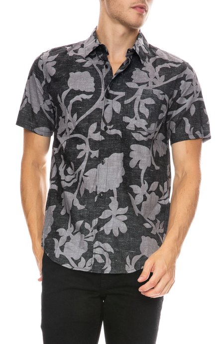 Outerknown Essential Short Sleeve Shirt - PITCH BLACK BOTANICA