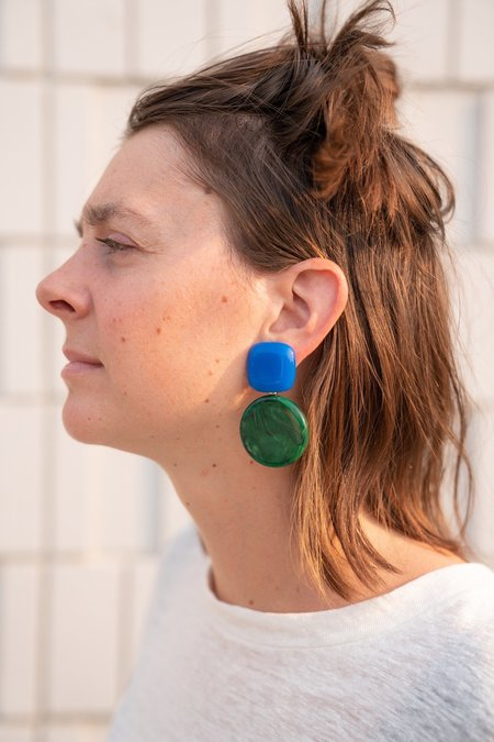 Rachel Comey Arc earrings - Blue/Malachite Acrylic