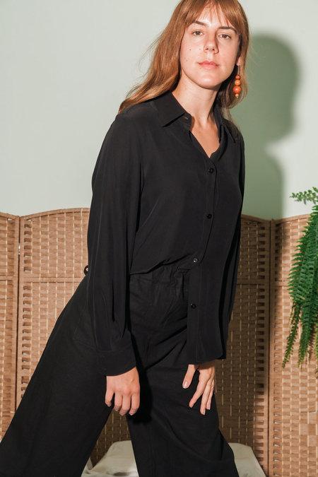 Waltz Button-up Silk Blouse - Black