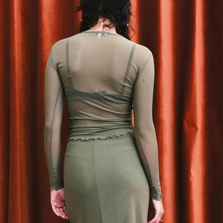 Priscavera Long Sleeve Ruffled Mesh Top - Moss