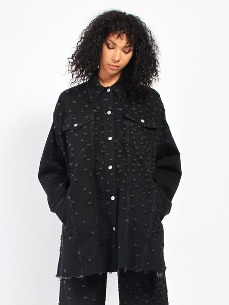 MM6 by Maison Margiela Distress Oversize Jacket - Black