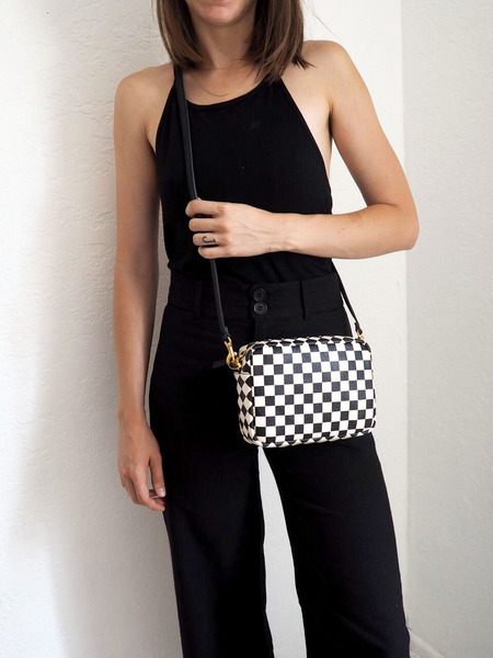 Clare V. Midi Sac bag - Black with Checkers