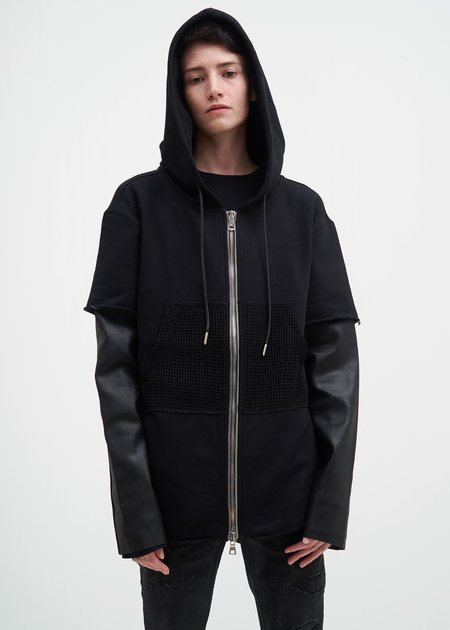 RtA Black Zip Hoodie w/ Leather Sleeves