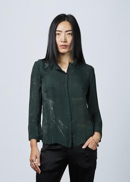 Jaga Painted Silk Blouse - forest green/gold