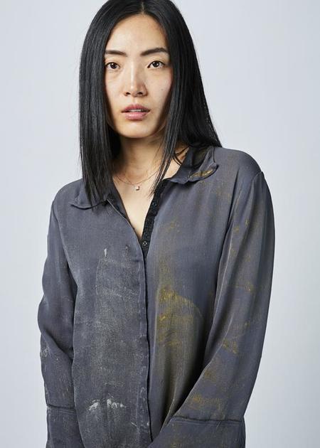 Jaga Painted Silk Blouse - grey/gold