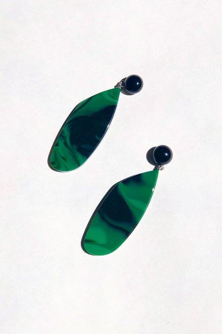 Rachel Comey Splitleap Earrings - Black/Malachite