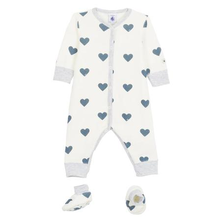 KIDS Petit Bateau Baby 2 Piece Set Pyjamas And Booties - White With Blue Hearts