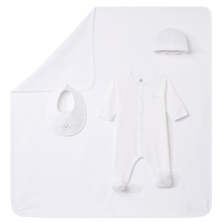 KIDS Petit Bateau Baby 4 Piece Box Set Pyjama WIth Feet, Hat,Bib And Blanket - White