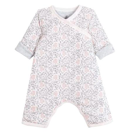KIDS Petit Bateau Baby Padded Sleeper - White With Pink And Grey Flowers