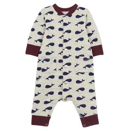KIDS Petit Bateau Baby Pyjama - Grey With Blue Whales