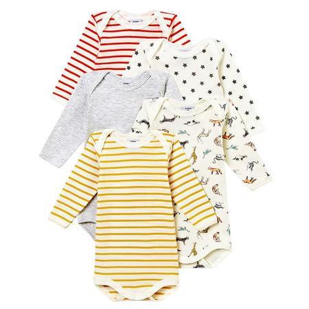 KIDS Petit Bateau Baby Set Of 5 Bodysuits - Multicolour