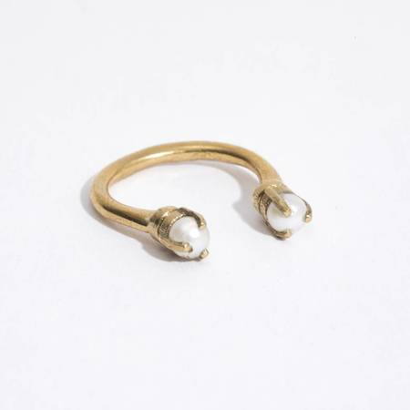 Aesa Single Wave Ring - BRONZE/PEARL