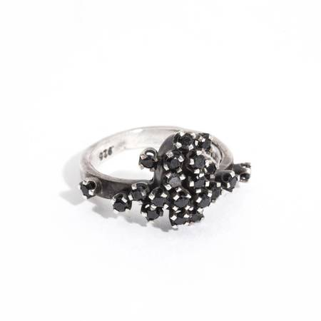 Unearthen Jewelry anthem ring - black spinel/silver