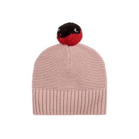 Kids Stella McCartney Ferret Knit Hat With Pompom - Pink
