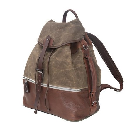 KRANE Design WAXED COTTON & LEATHER TRIM THEUS RUCKSACK - FIELD TAN