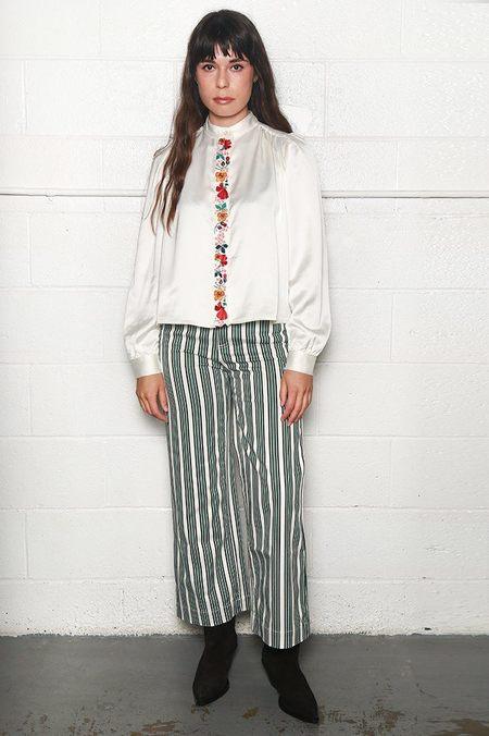 Alexa Chung Grandad Collar Blouse - Ivory