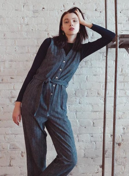 Seek Collective Reena Romper - Blue woven