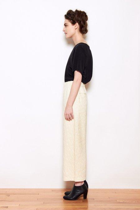 Black Crane Jacquard Pants - Cream