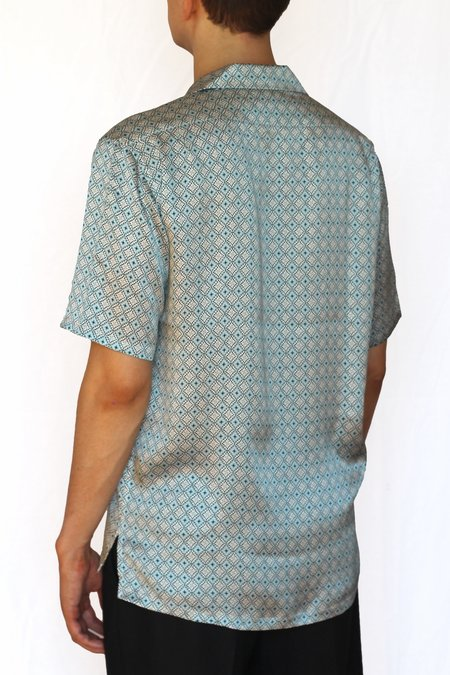 Commun des Mortels silk camp collar shirt - fjord blue