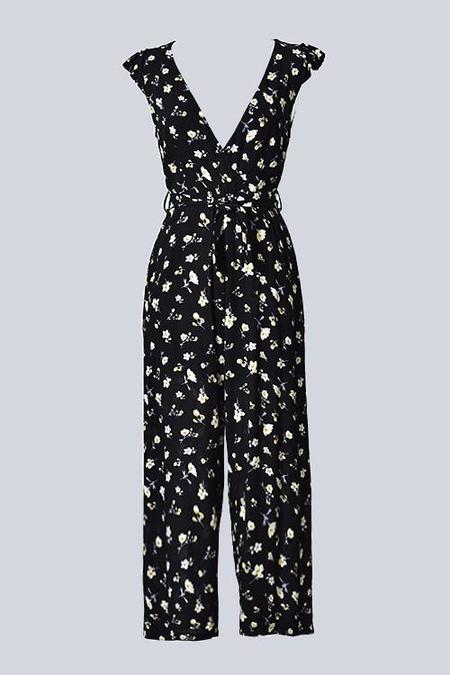 Trend Shop Buttermilk & Black Berries Floral Jumpsuit - Midnight Black