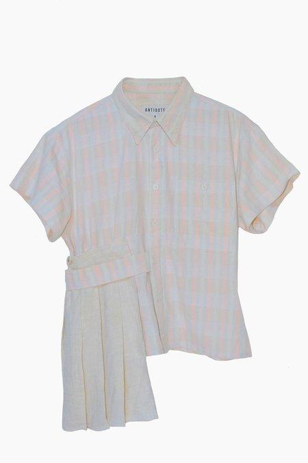 ANTIDOTE x WYLDE Pleated Plaid Shirt - Pink/Multi