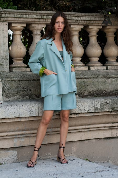 Index Series Single Breasted Boxy Jacket - Mint Green