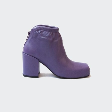 Aalto Chunky Ankle Boot with Gathering - Purple