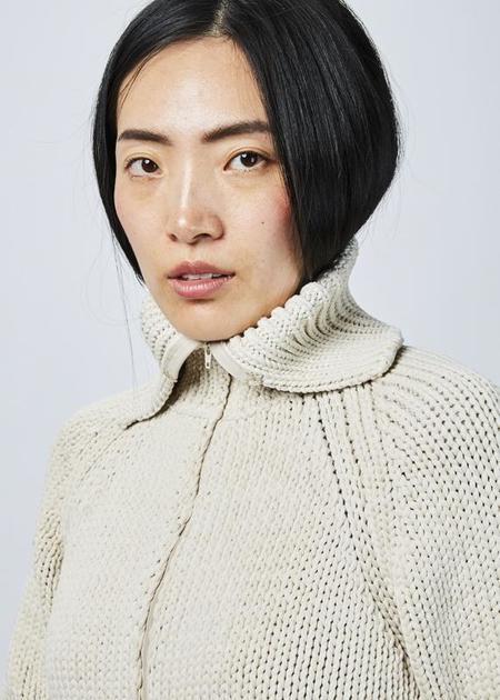 Ter et Bantine Cropped Knit Zip Sweater - beige