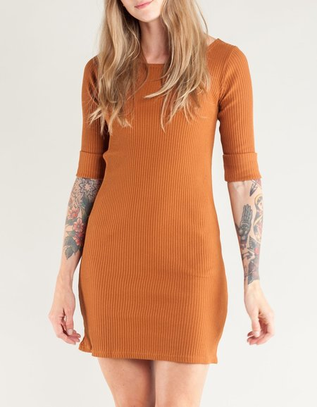Side Party Melina Rolled Cuff Scoop Neck Mini Dress - Camel Rust
