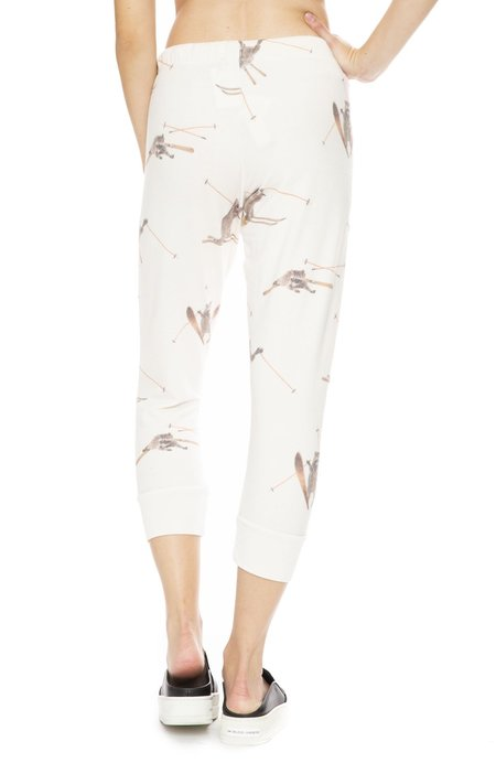 All Things Fabulous Skiing Raccoon Cropped Cozy Sweatpants - Natural