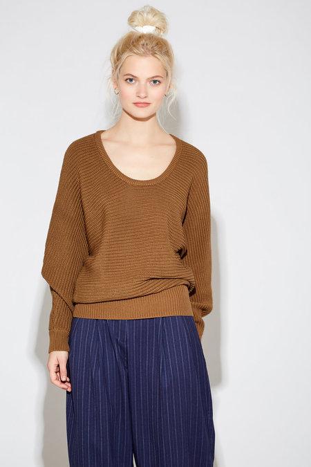 Callahan Georgie Scoop Neck Sweater - Otter Brown