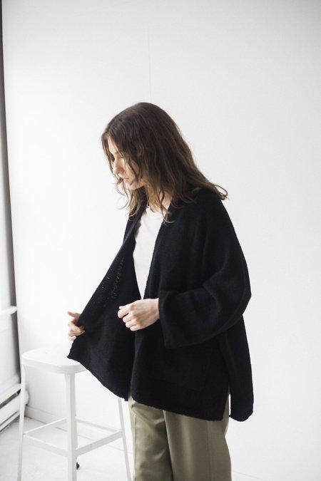 Bare Knitwear Kimono Coat - Black