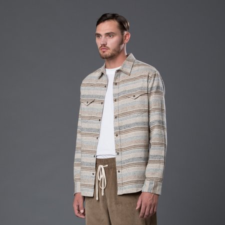 Krammer & Stoudt Wayne Western Shirt - Cream Stripe